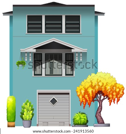 Side View House Parking Garage Stock Vector Royalty Free 241913560