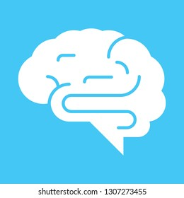 A side view of a human brain over a pale blue background.