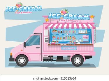 Side view of ice cream van. Design Elements.Vector Illustration