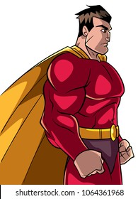 Side view illustration of a powerful and determined superhero with yellow cape looking forward ready for action on white background for copy space