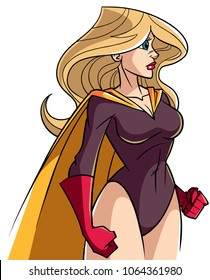 Side view illustration of a powerful and determined superheroine with yellow cape looking forward ready for action on white background for copy space