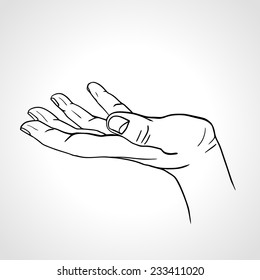 Side view of a line art  hand with palm up isolated on a white background, sketched open hand