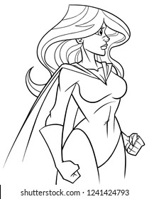 Side view line art illustration of powerful and determined superheroine with cape looking forward ready for action on white background for copy space.