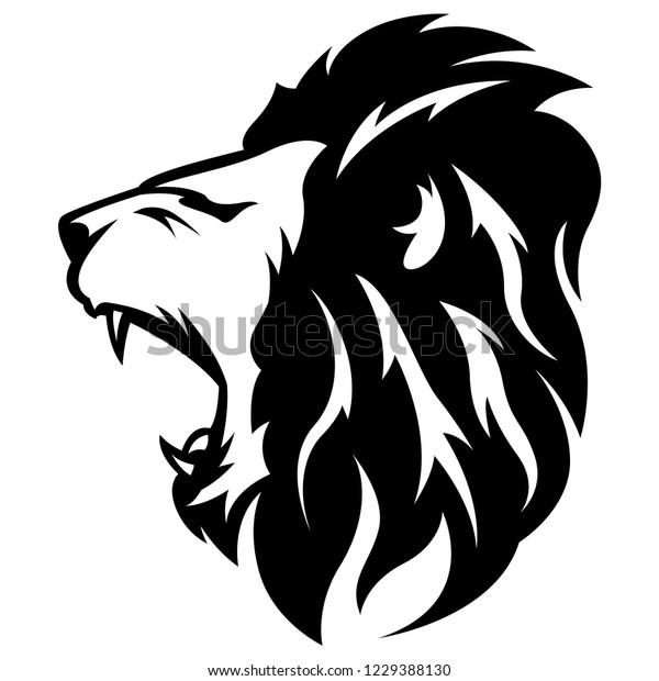 Side View Lion Roar Modern Logo Stock Vector (Royalty Free) 1229388130