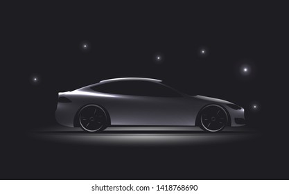 Side view luxury car silhouette on dark background. Glowing electric car silhouette. Vector illustration.
