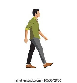 Side View of a Man Walking Forward. Vector Illustration. Isolated on White Background