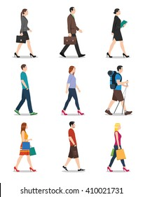 Side view of men and women walking. People walking illustration.