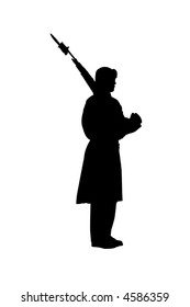 Side view of military guard silhouette