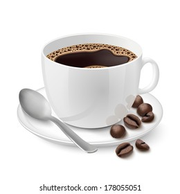 Side view on realistic white cup filled with black classic espresso with coffee beans vector illustration