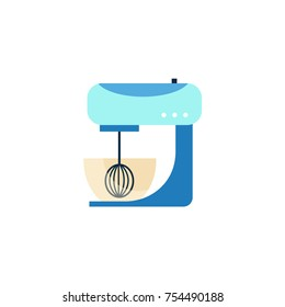 Side view picture of kitchen mixer, food processor, flat style vector illustration isolated on white background. Flat style side view picture of kitchen mixer, home appliance, cooking aid