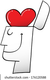 Side view of of a proud man while smiling and showing a red heart in top of his opened head instead of a brain