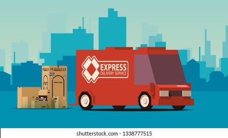 Side View Red Delivery Car or Cargo Truck with Row of Boxes on Blue Landscape Background. IsoFlat Styled Vector Illustration.