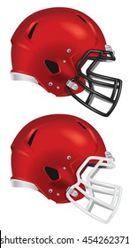 Side view of red football helmet vector isolated on white