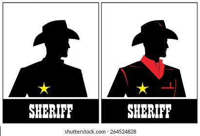 Side view of Sheriff. Cowboy. Young Sheriff. Sheriff Silhouette.