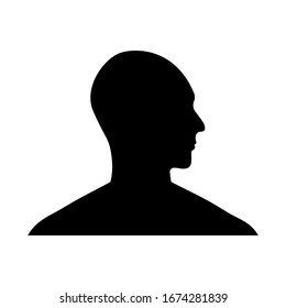 Side view silhouette of a bald man's head.