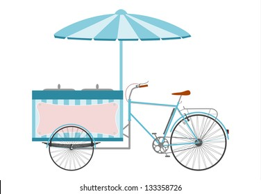Side view of a silhouette of the ice cream bike on a white background.