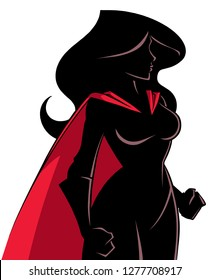 Side view silhouette illustration of a powerful and determined superheroine with red cape looking forward ready for action on white background for copy space.