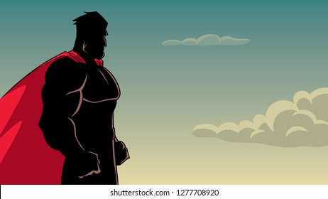Side view silhouette illustration of a powerful and determined superhero with red cape looking forward ready for action on sky background for copy space.
