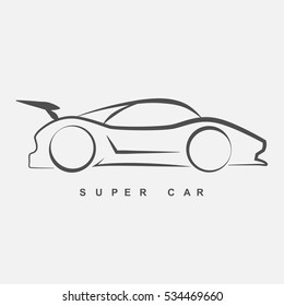 The side view of super car logo in hand draw style.(EPS10 art vector)