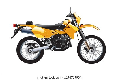 side view Vector illustration of a yellow Enduro Motorcycle