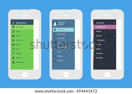 sidebar navigation screen mockups mobile ui のベクター画像素材