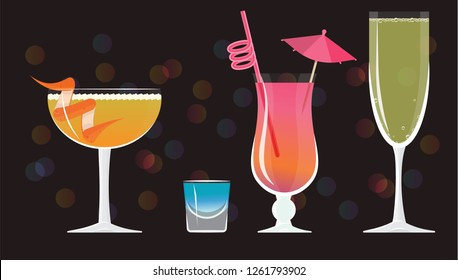Sidecar cocktail, Blue Kamikaze ,French 75, Mai Tai ,Bellini cocktails  on black mirrored background with bokeh. Vector illustration for web and print,  party invitation or menu decoration