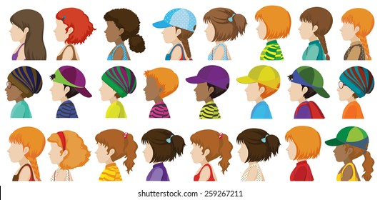 Sideview of the different faces of human beings on a white background