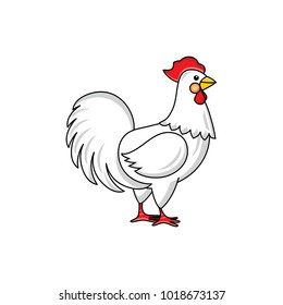 Side-view portrait of white rooster, chicken, hand-drawn vector illustration isolated on white background. Standing white rooster, hand-drawn illustration
