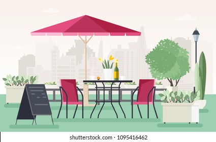 Sidewalk cafe or restaurant with table, chairs, umbrella, potted plants and welcome board standing on street against city buildings on background. Colored vector illustration in cartoon flat style