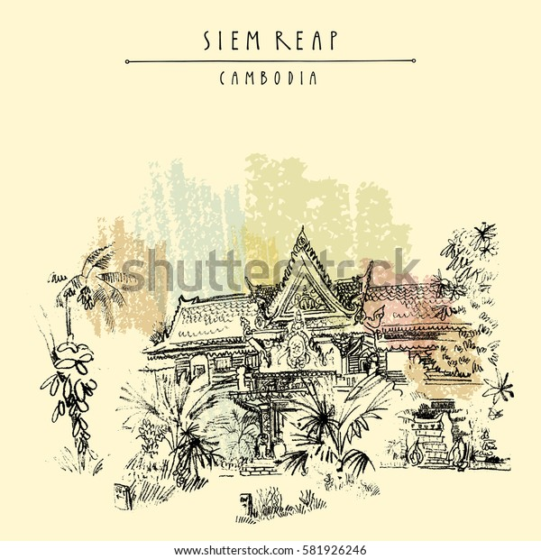 Siem Reap, Cambodia. Hotel in traditional Khmer architectural style. Tropical plants, trees. Vector vintage touristic postcard with grungy artistic hand drawing in vector