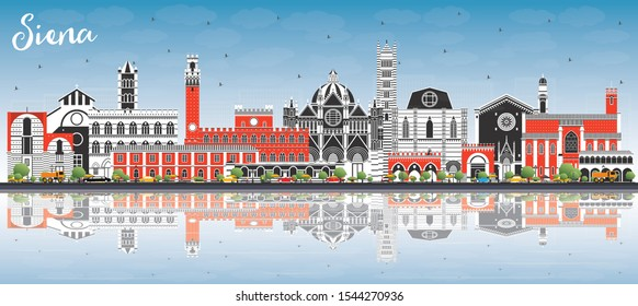 Siena Tuscany Italy City Skyline with Color Buildings, Blue Sky and Reflections. Vector Illustration. Business Travel and Concept with Historic Architecture. Siena Cityscape with Landmarks.