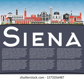 Siena Tuscany Italy City Skyline with Color Buildings, Blue Sky and Copy Space. Vector Illustration. Business Travel and Concept with Historic Architecture. Siena Cityscape with Landmarks.