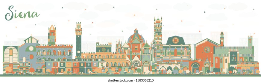 Siena Tuscany Italy City Skyline with Color Buildings. Vector Illustration. Business Travel and Concept with Historic Architecture. Siena Cityscape with Landmarks.