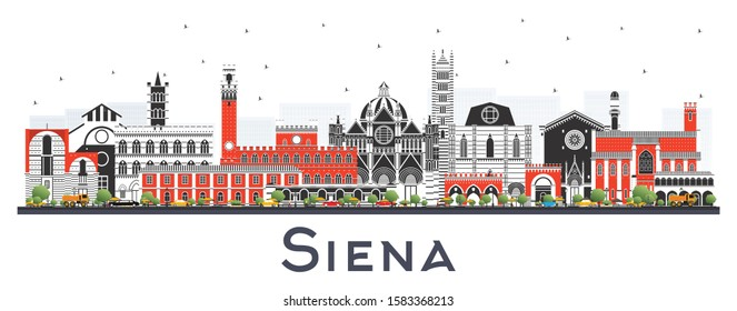 Siena Tuscany Italy City Skyline with Color Buildings Isolated on White. Vector Illustration. Business Travel and Concept with Historic Architecture. Siena Cityscape with Landmarks.