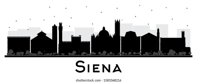 Siena Tuscany Italy City Skyline Silhouette with Black Buildings Isolated on White. Vector Illustration. Business Travel and Tourism Concept with Historic Architecture. Siena Cityscape with Landmarks.