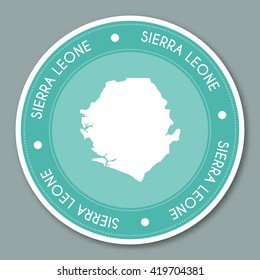Sierra Leone label flat sticker design. Patriotic country map round lable. Country sticker vector illustration.