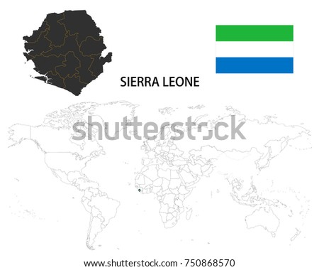 Sierra Leone Map On World Map Stock Vector Royalty Free 750868570