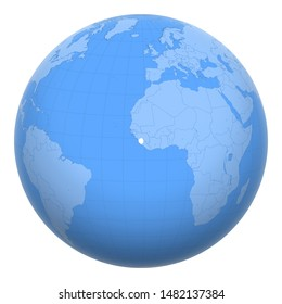 Sierra Leone (Salone) on the globe. Earth centered at the location of the Republic of Sierra Leone. Map of Sierra Leone. Includes layer with capital cities.