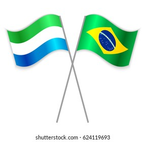 Sierra Leonean and Brazilian crossed flags. Sierra Leone combined with Brazil isolated on white. Language learning, international business or travel concept.