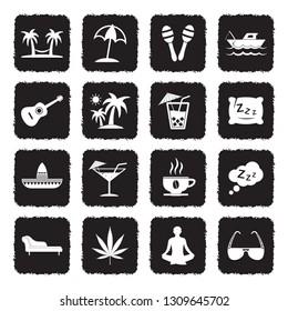 Siesta Icons. Grunge Black Flat Design. Vector Illustration.
