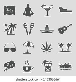 Siesta Icons. Sticker Design. Vector Illustration.