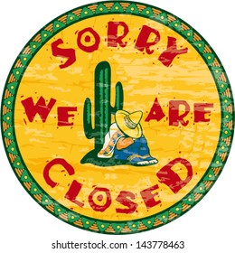 Siesta time signboard - Sorry we are closed, vintage vector signboard