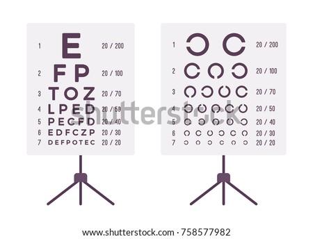 Sight Check Table Eye Chart Test Stock Vektorgrafik Lizenzfrei
