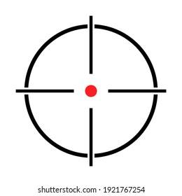 Sight gun vector icon. Modern target illustration of crosshair symbol for web design. Cross mark dot .
