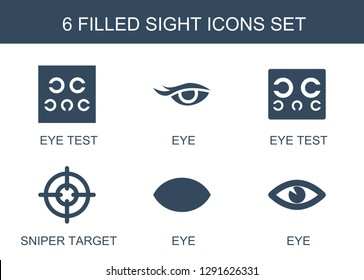 sight icons. Trendy 6 sight icons. Contain icons such as eye test, eye, sniper target. sight icon for web and mobile.