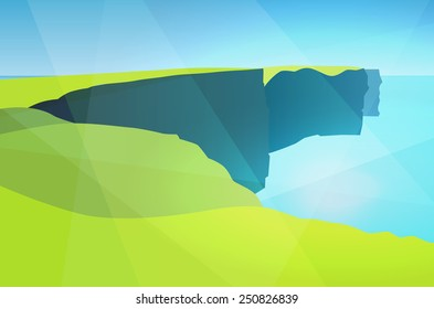 Sight of Ireland, Cliffs of Moher, Vector Illustration