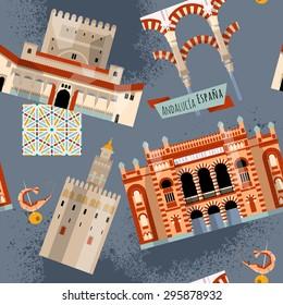 Sights of Andalusia. Seville, Granada, Cordoba, Cadiz, Spain, Europe. Seamless background pattern. Vector illustration