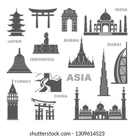 Sights and architectural monuments of Asia. Famous buildings of India, Japan, China, Myanmar, Indonesia and Dubai