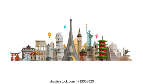 Sights countries of world. Journey, travel concept. Vector illustration