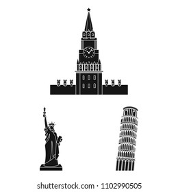 Sights of different countries black icons in set collection for design. Famous building vector symbol stock web illustration.